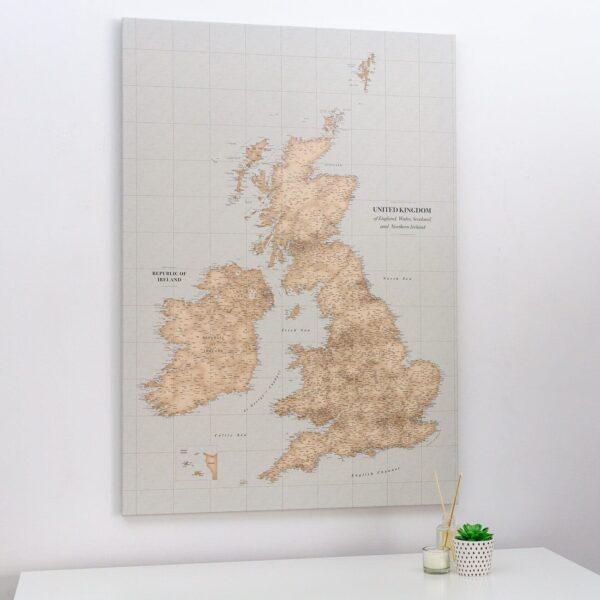 push pin uk and ireland map vintage