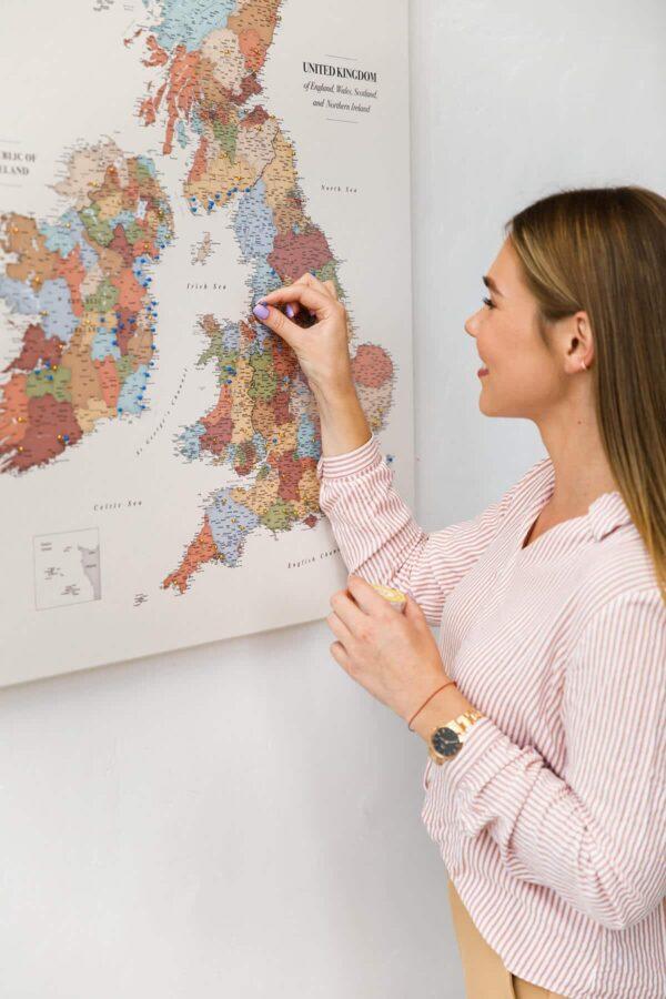 uk ireland map pinboard colorful