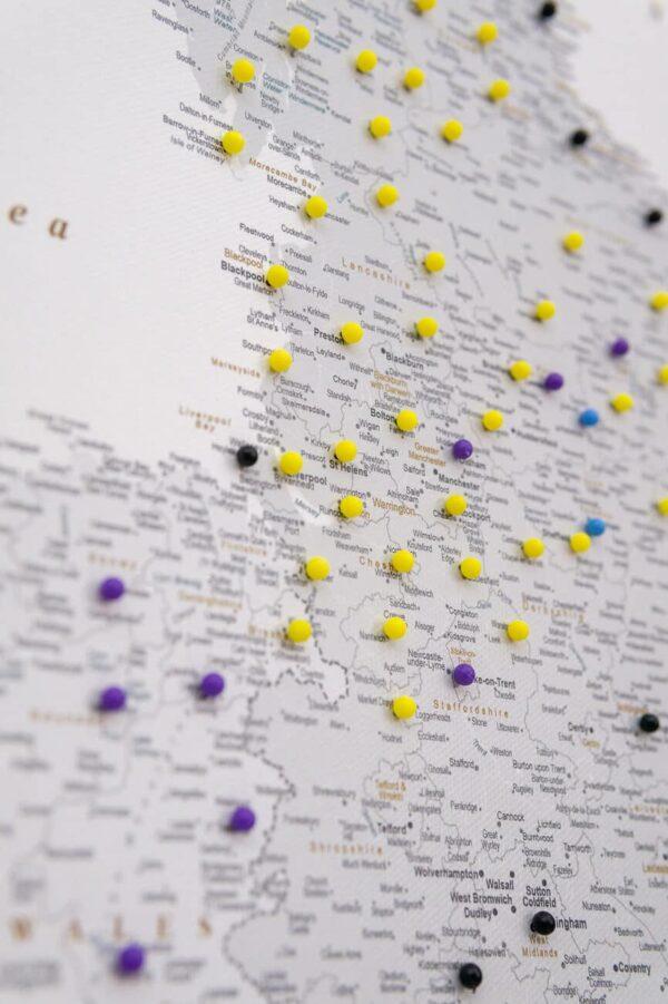 uk map pinboard grey