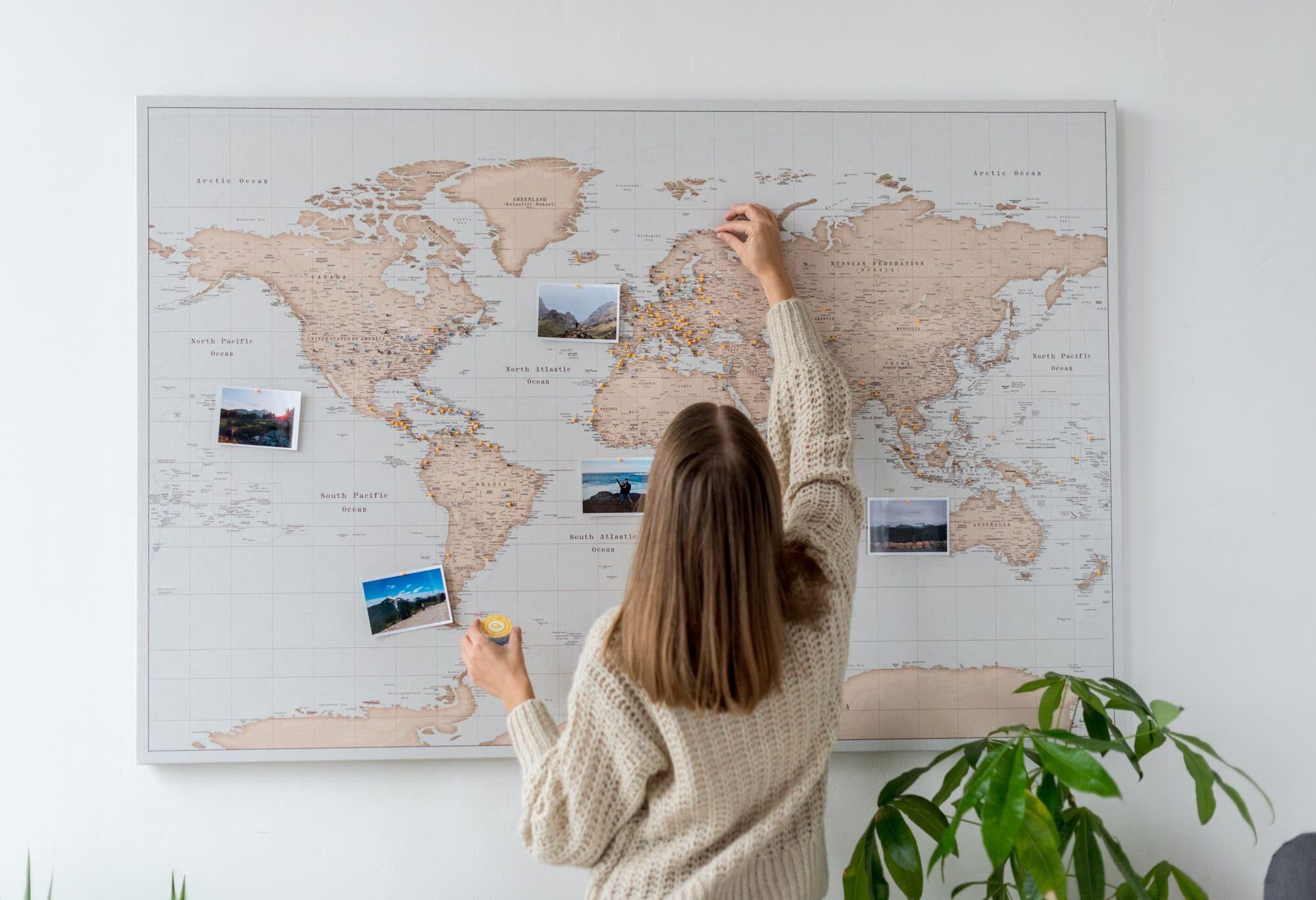 trip map world push pin maps