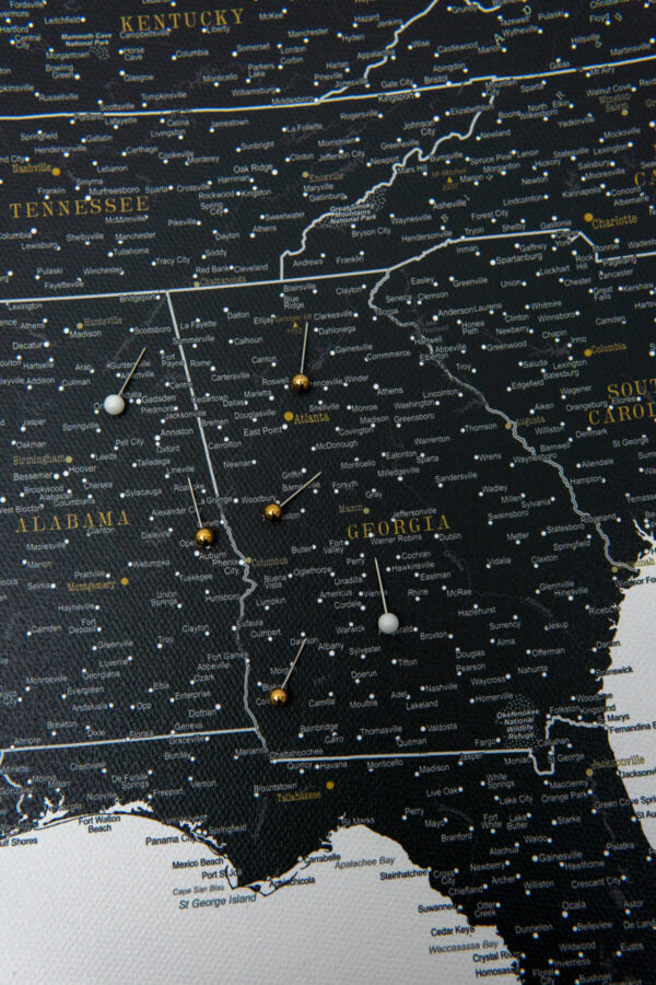 canvas usa wall art map black