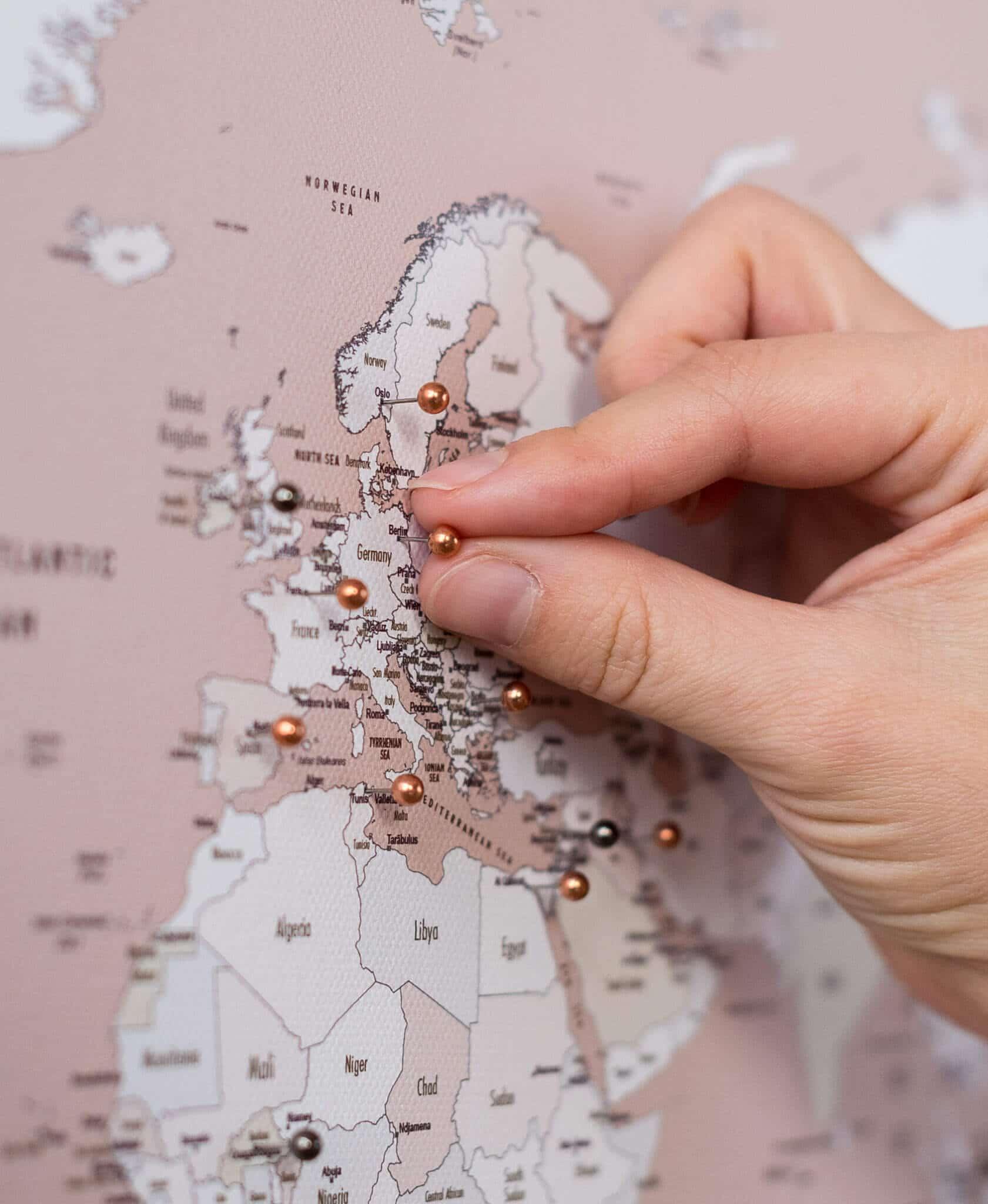 dusty pink world map pin board