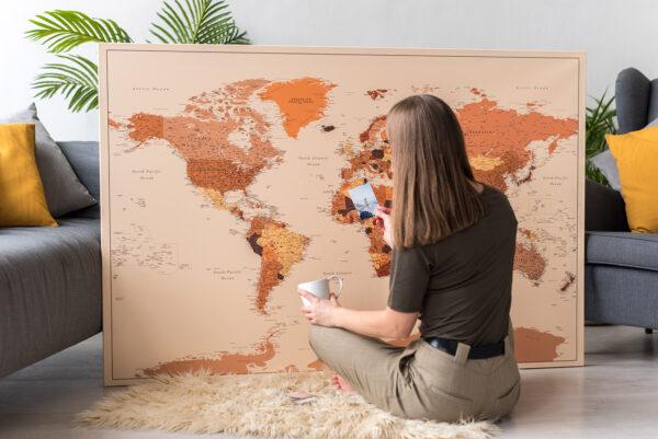 large-brown-push-pin-world-map