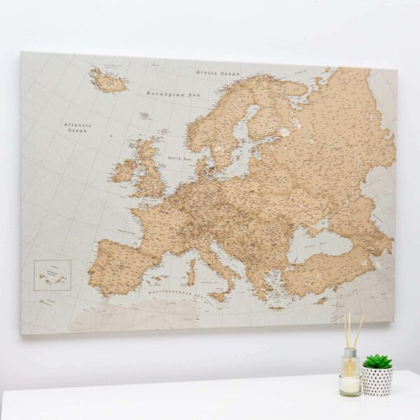large europe map wall art for travelers vintage