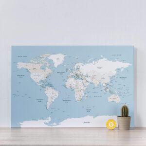 mellow blue push pin world map