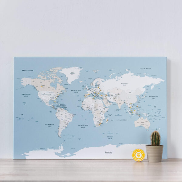 mellow blue push pin world map