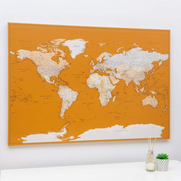 mustard canvas push pin word map on canvas