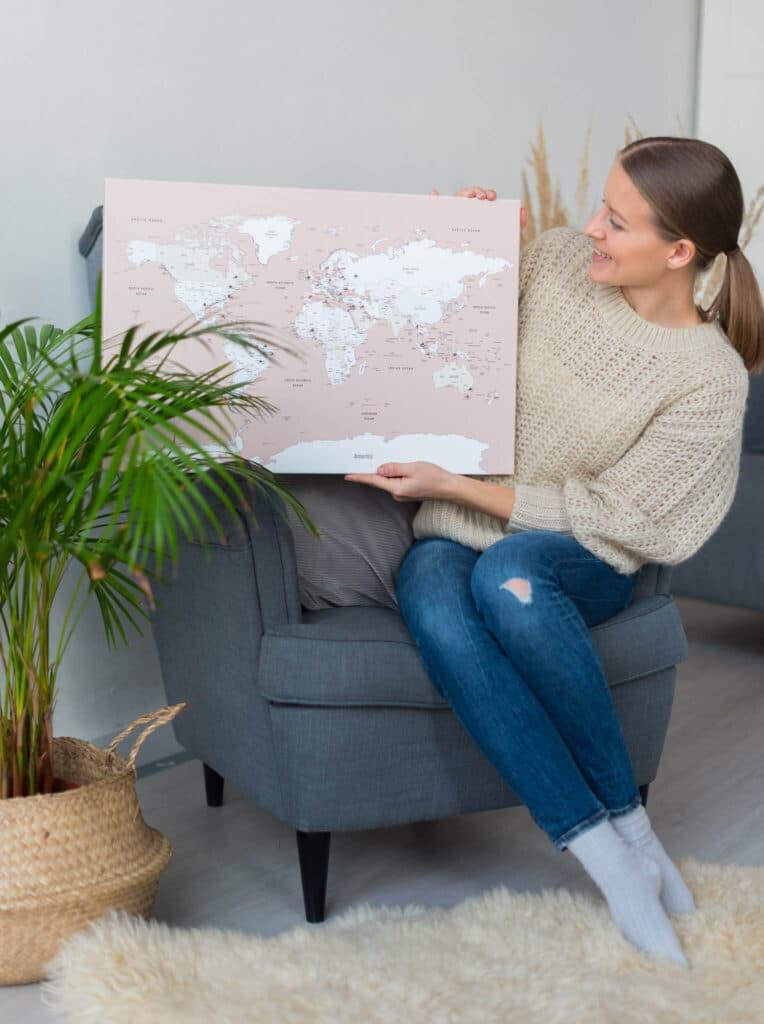 small push pin canvas map pink