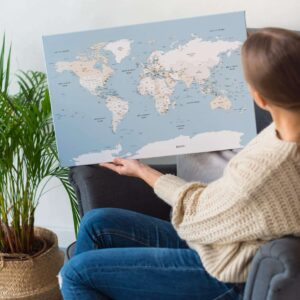 small push pin world map mellow blue
