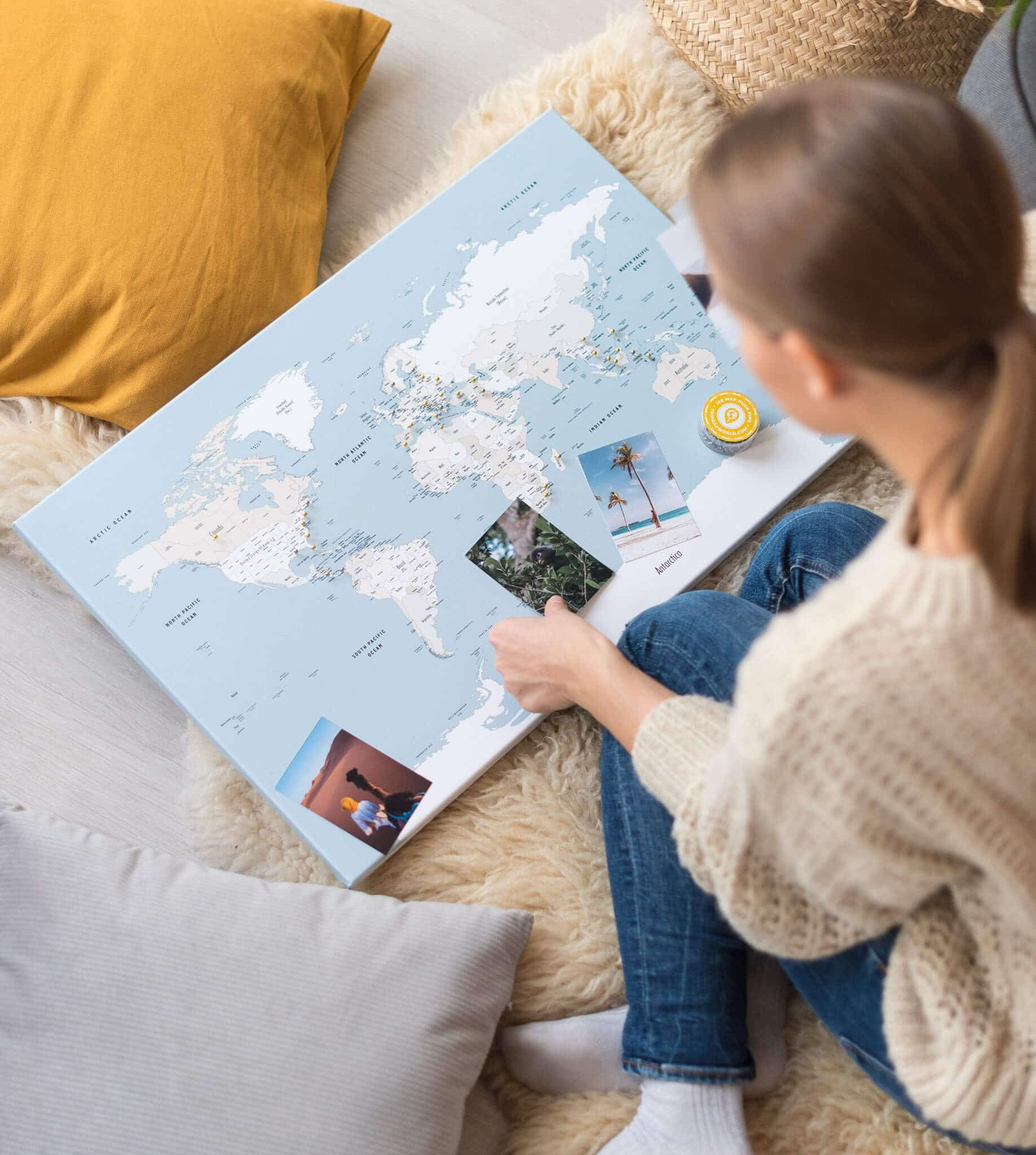 small travel map mellow blue with pins