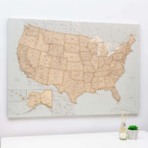 vintage usa pin board map on canvas