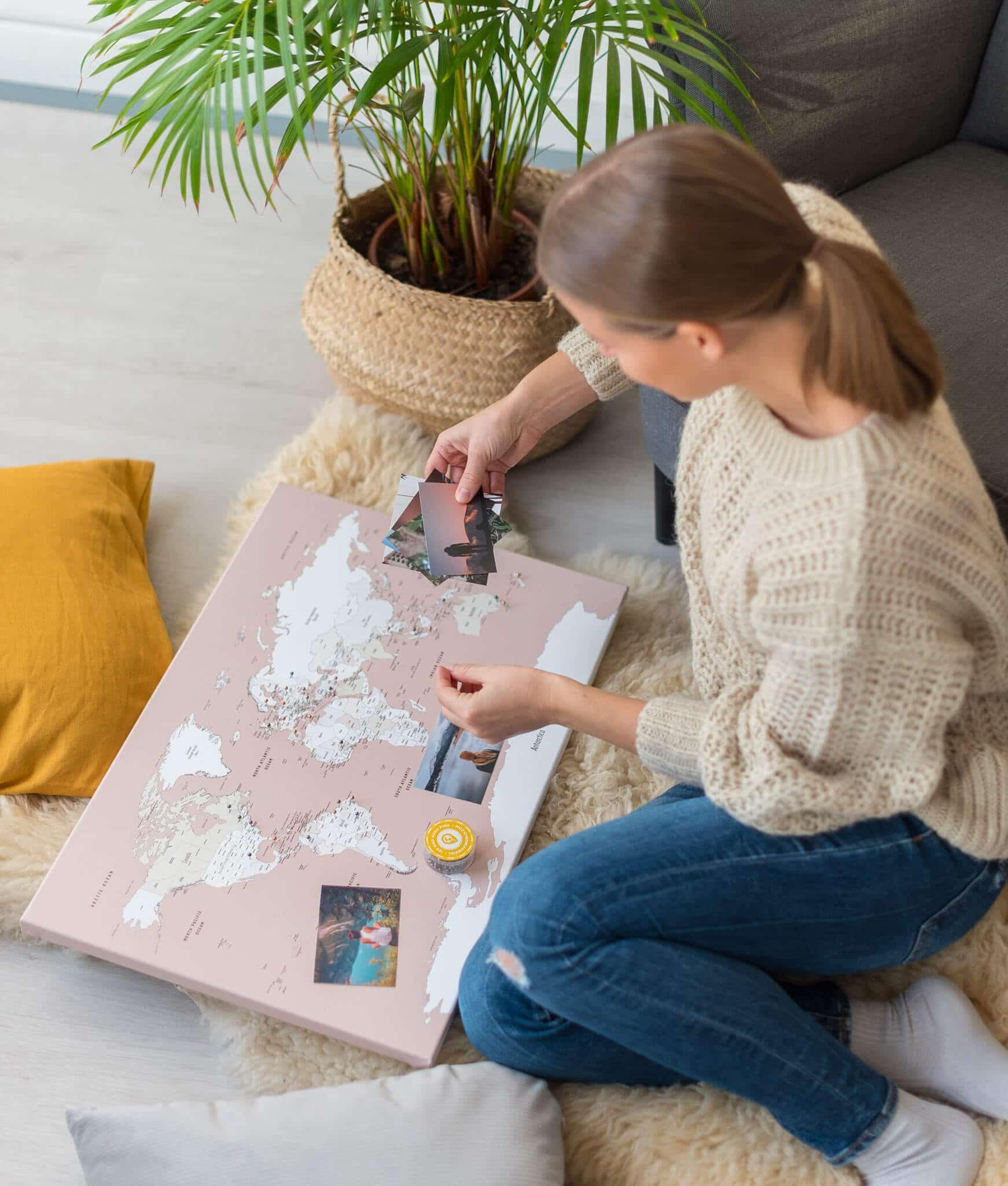 wall art dusty pink world map