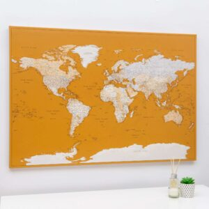 world map wall art yellow color honey