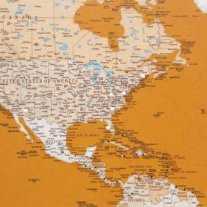 yellow world map wall art