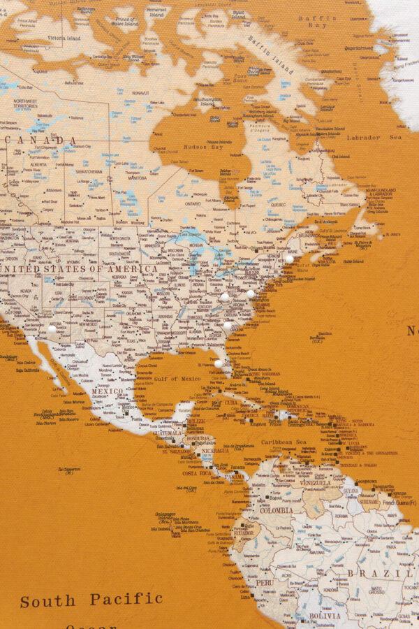yellow world map wall art