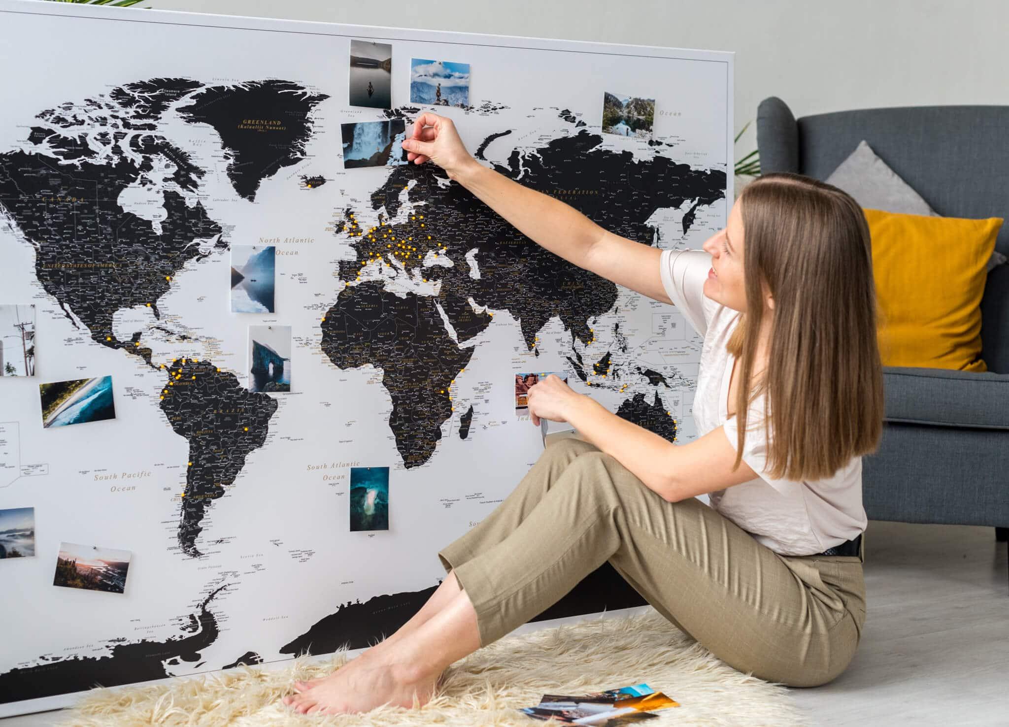 Detailed Push Pin World Map