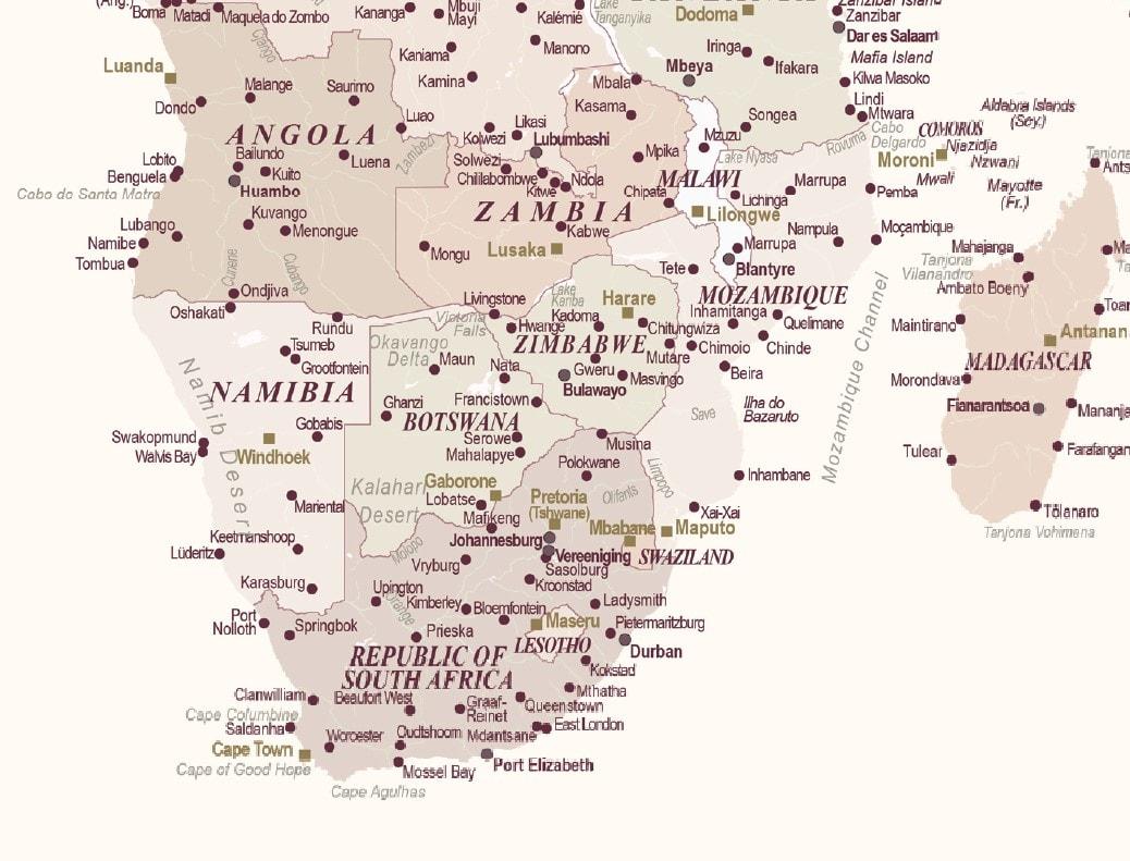 afrika detailed map push pin map