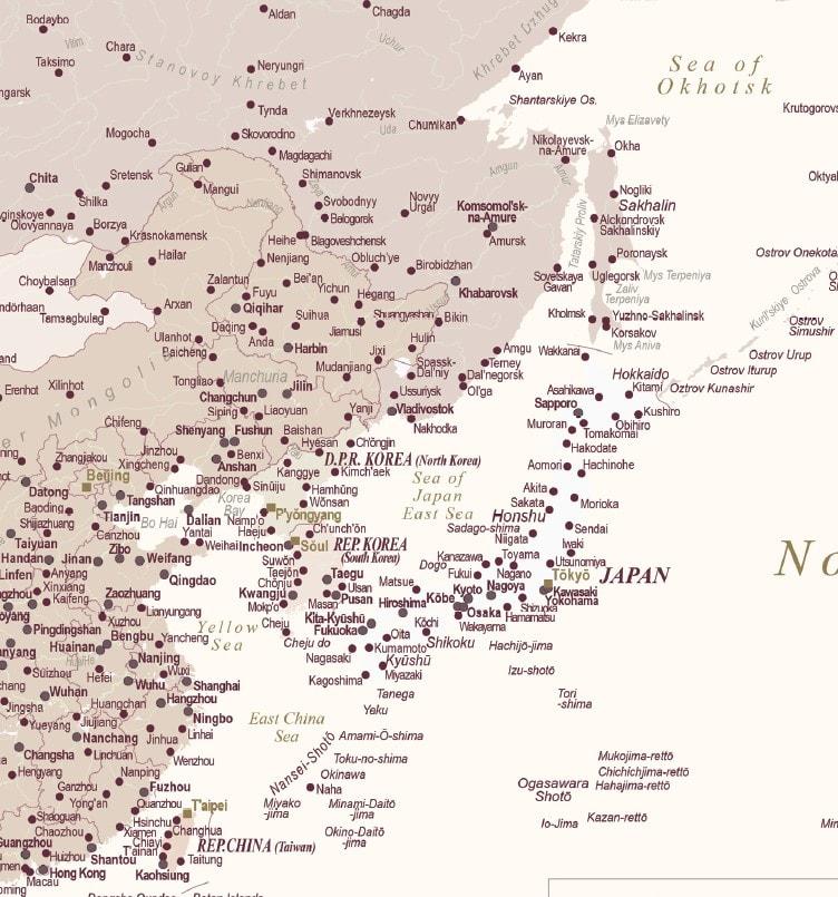 asia detailed map push pin