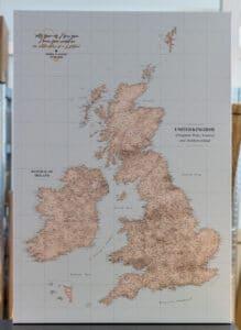 large detailed personalized UK push pin map from tripmap