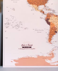personalized large world map with pins