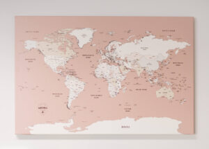 personalized small rose world map canvas