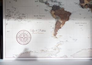 personalized world map with cities and countries