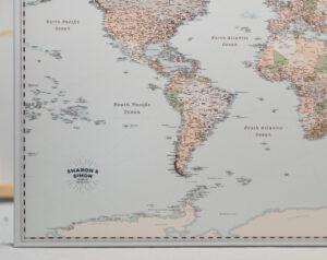 wedding anniversary personalized world map gift