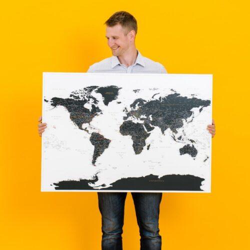 world push pin map tripmap black