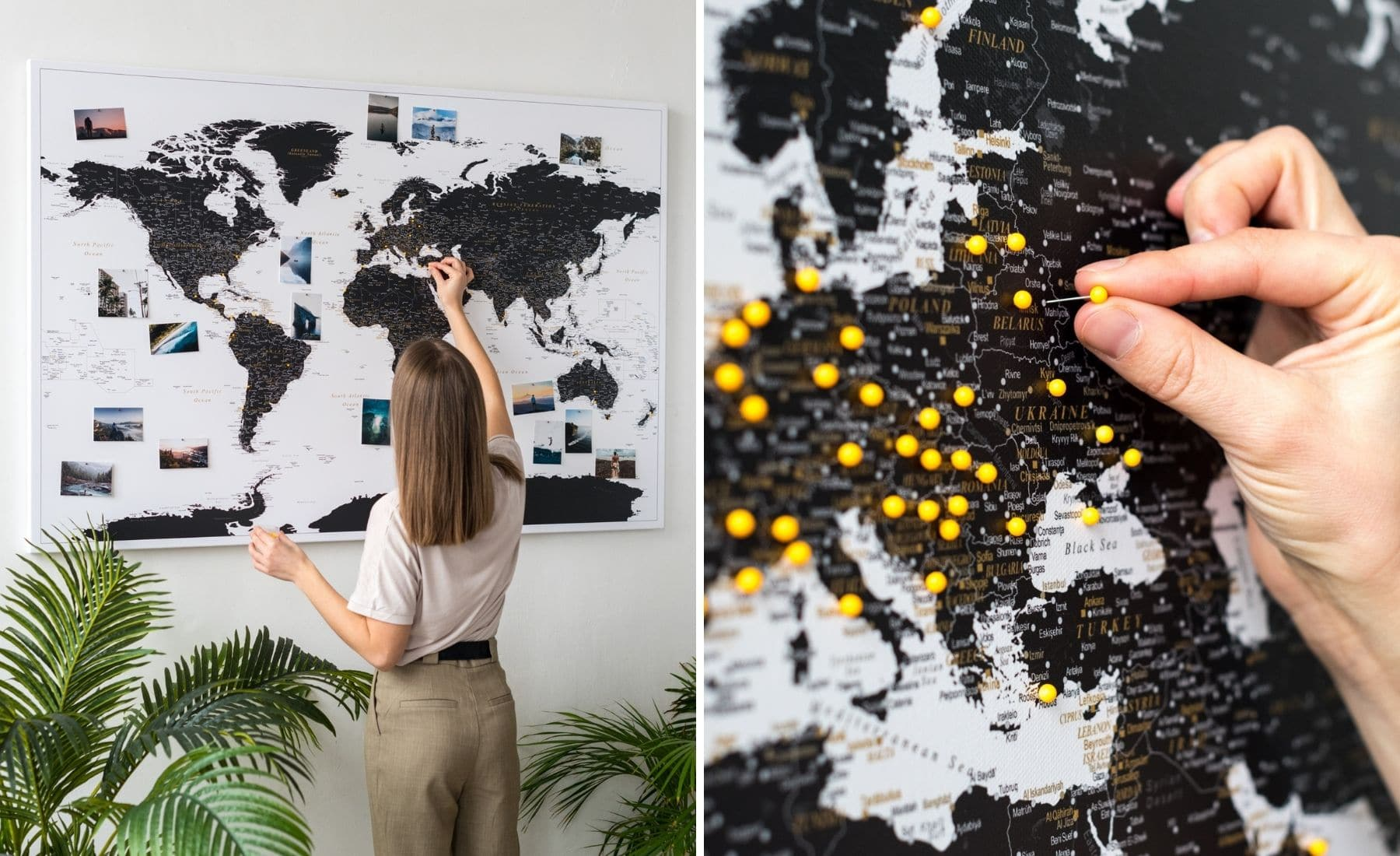 push pin world map on canvas black made by tripmap
